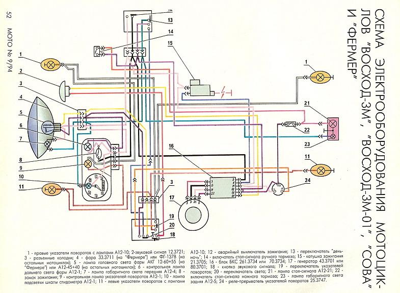 Электросхема мотоциклов «Восход-3м», «Восход-3м-01», «Сова», «Фермер»
